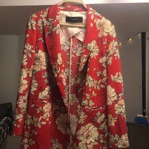 Zara -  Red printed blazer Size M